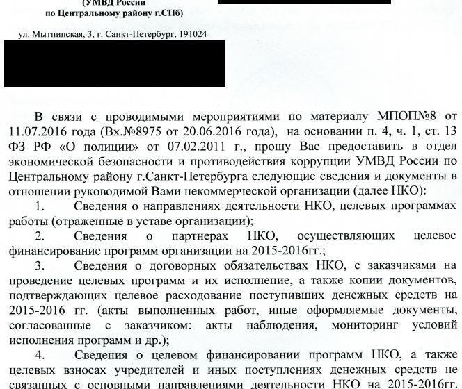 НКО Петербурга сообщают о проверках МВД