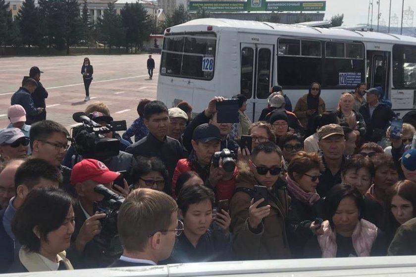 Протест в центре Улан-Удэ продолжается второй день